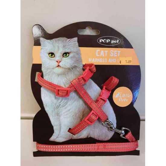 Reguliuojamos petnešos ir pavadėlis katėms su atšvaitu įvairių spalvų