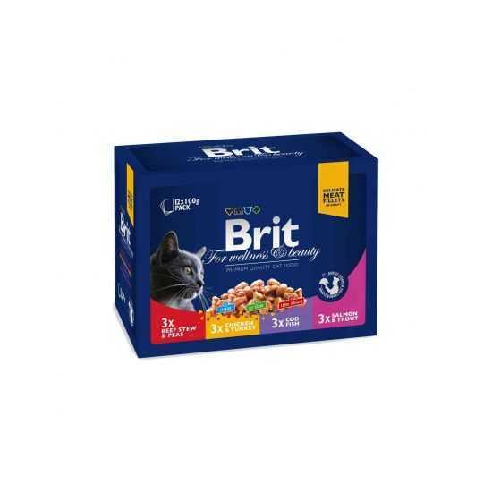 Brit Premium konservų katėms rinkinys 4 skoniai, 12 vnt