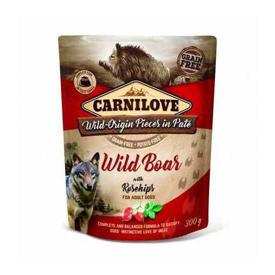Carnilove konservai-paštetas šunims Pate Wild Boar with Rosehips 300g