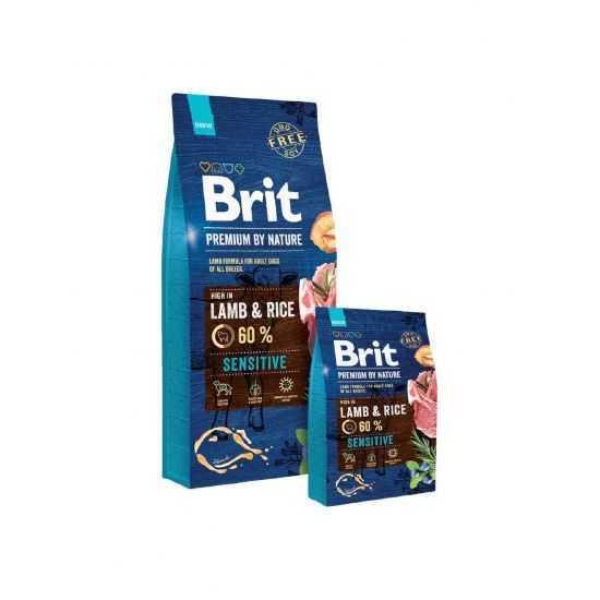 Brit Premium by Nature Lamb & Rice sausas maistas šunims su ėriena 15kg