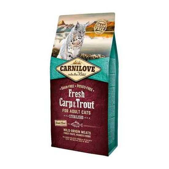 Carni Love Fresh Carp & Trout Adult Cat Sterilized sausas maistas katėms