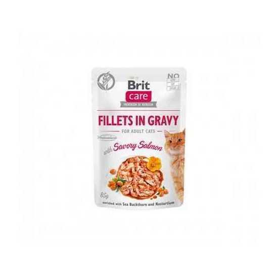 Brit Care Cat konservai katėms Fillets in Gravy Salmon su lašiša 85 g