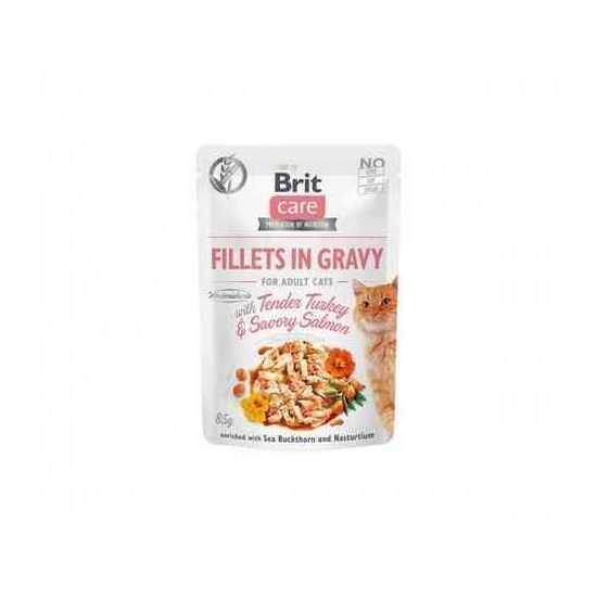 Brit Care Cat konservai katėms Fillets in Gravy Turkey&Salmon su kalakutiena ir lašiša 85 g