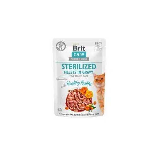 Brit Care Cat Sterilized konservai katėms Fillets in Gravy Healthy Rabbit su triušiena 85 g