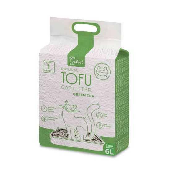VELVET PAW TOFU KRAIKAS KATĖMS, 2 MM GRANULĖS su žaliosios arbatos ekstraktu 4.3kg/6l