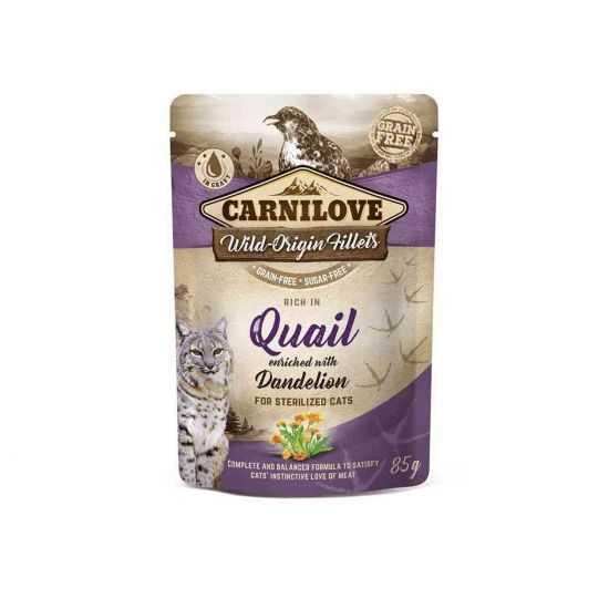 Carnilove konservai sterilizuotoms katėms  Quail Dandelion 85g