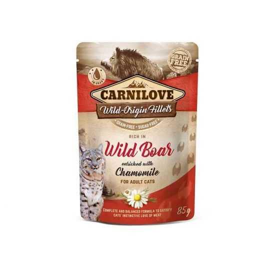 Carnilove konservai katėms maišeliuose Wild Boar Chamomile 85g