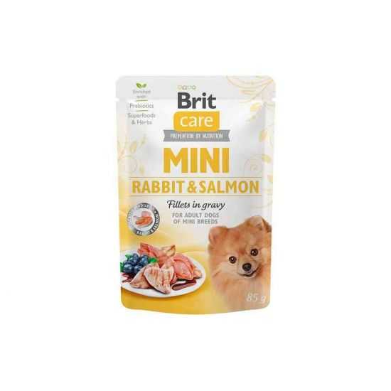 Brit Care Mini konservai šunims maišeliuose Rabbit&Salmon fillets in gravy 85g