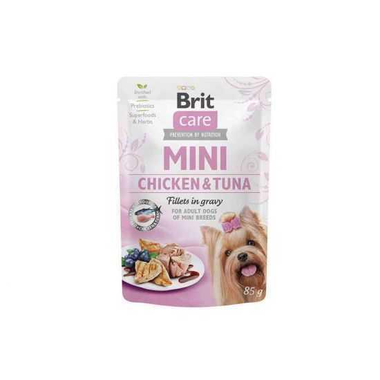 Brit Care Mini konservai šunims maišeliuose Chicken&Tuna fillets in gravy 85g