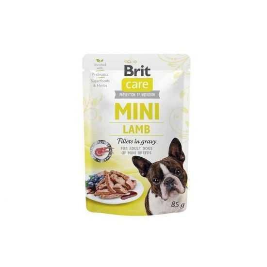 Brit Care Mini konservai šunims maišeliuose Lamb fillets in gravy 85g