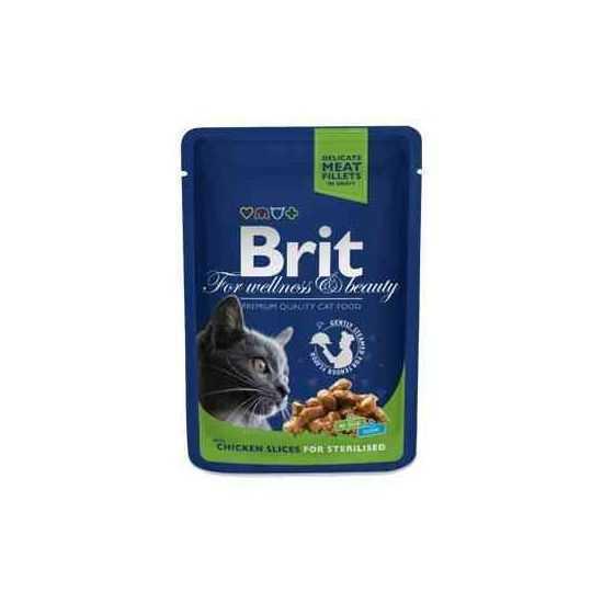 Brit Premium Chicken Slices Sterilized konservai sterilizuotoms katėms su vištiena