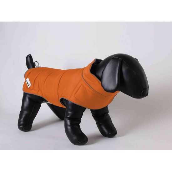 Šilta dvipusė striukė šunims įv. dydžių oranžinė/pilka