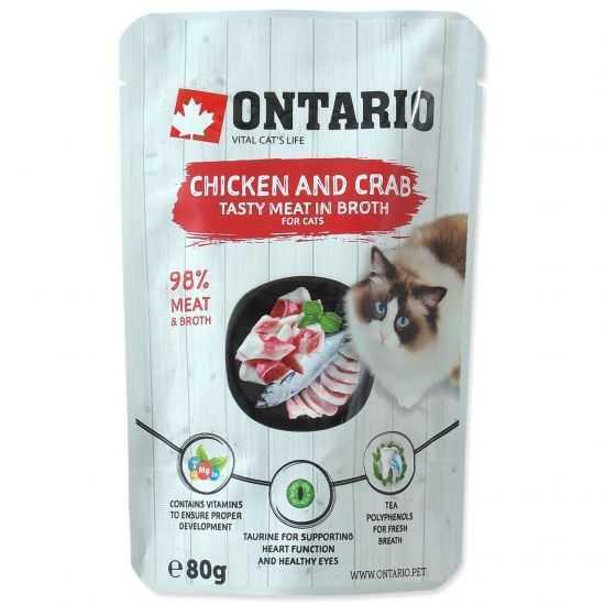 ONTARIO chicken & crab - konservai katėms su vištiena ir krabais sultinyje
