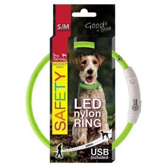 Šviečiantis antkaklis šunims LED žalias, reguliuojamas