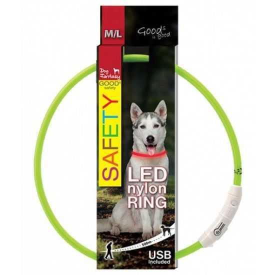 Šviečiantis antkaklis šunims LED žalias, reguliuojamas, 65cm