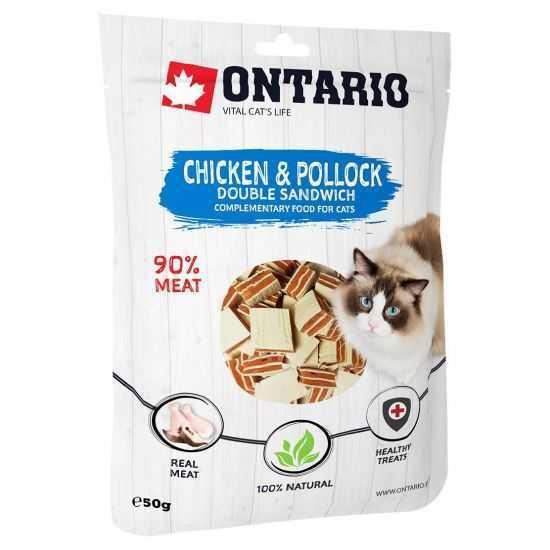 Ontario skanėstai katėms - vištienos dvigubi sumuštiniai 50G