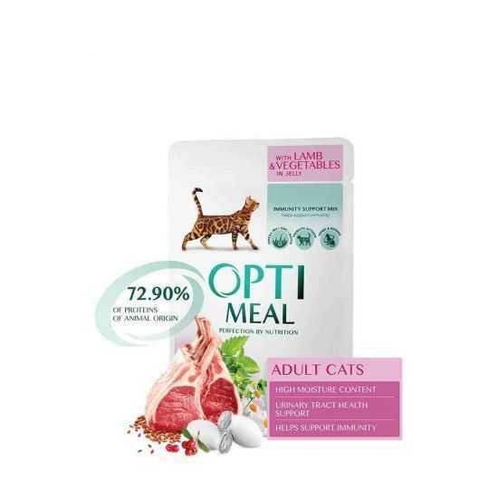 Konservai katėms OPTIMEAL su ėriena ir daržovėmis želė