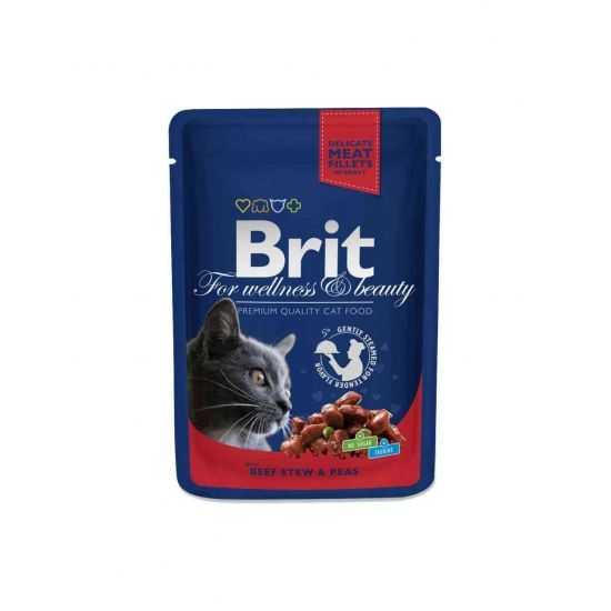 Brit premium Beef Stew & Peas konservai katėms maišelyje su jautiena ir žirneliais